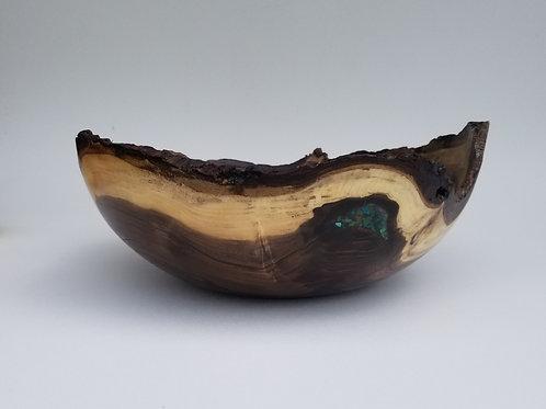 Black Walnut Natural Live Edge Wood Bowl w/Turquoise