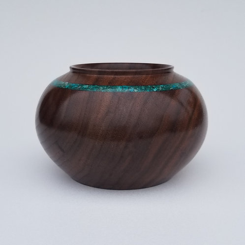 Black Walnut Hollow Form with Turquoise Inlay