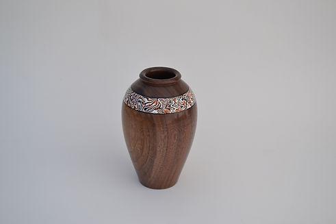 Black walnut wood modern art vase damascus milliput inlay