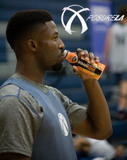 David Nwaba hydrating w/ Body Armor