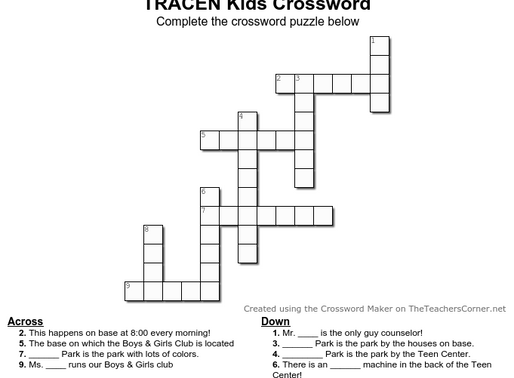 TRACEN Crossword Puzzle!