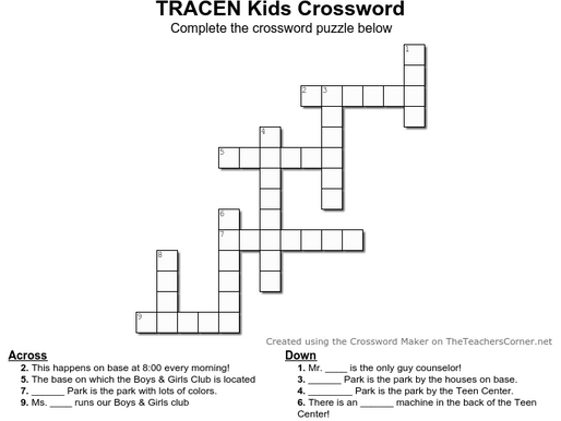 TRACEN Crossword Puzzle!