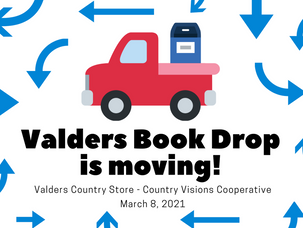 Valders book drop is moving!