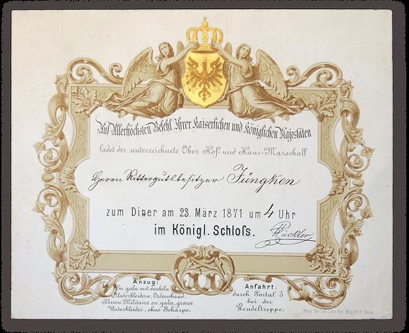 Royal Menus - Wilhelm I - 1871 0 Invitat