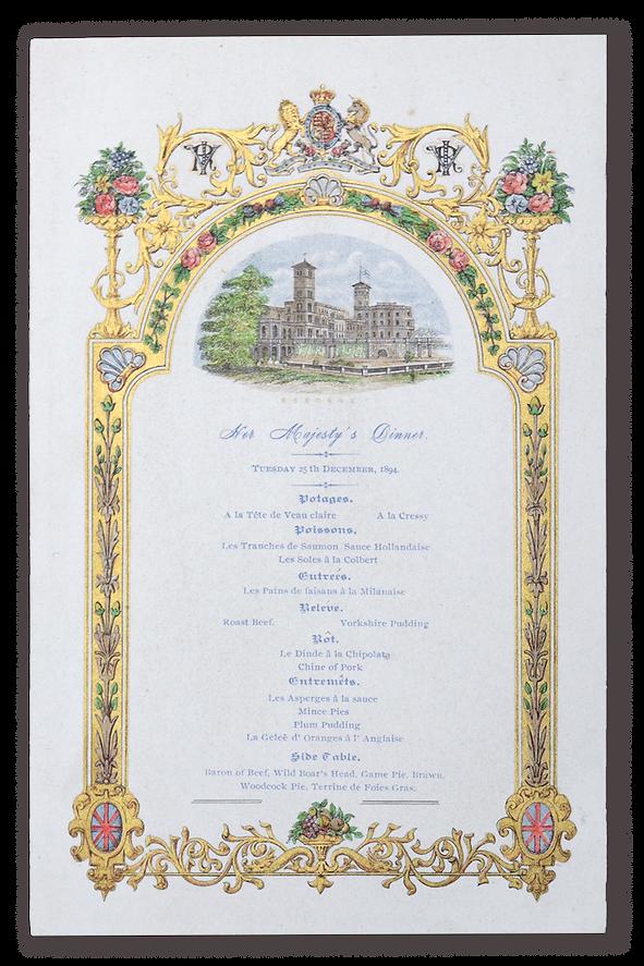 royal menus - queen victoria - christmas