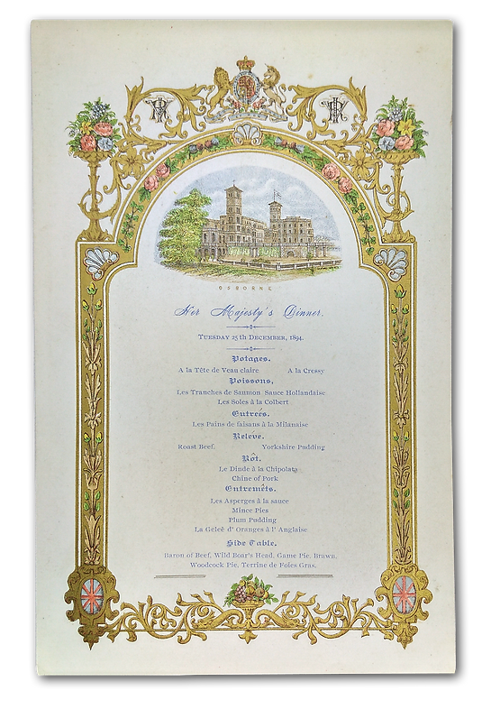 Royal Menus - Queen Victoria - Christmas