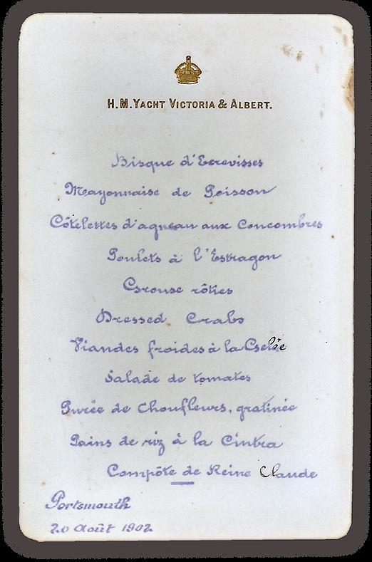 royal menus - shah persia - royal yacht