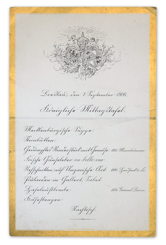 Royal Menus - Kaiser-Churchill - 1906 -