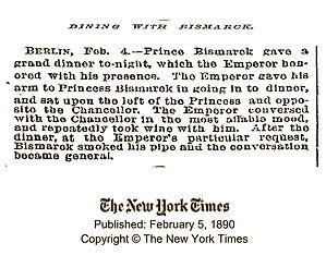 Royal Menus - Bismarck - NY Times clippi