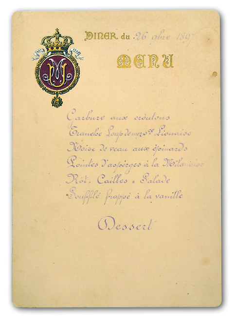 Royal Menus - King Umberto I of Italy -