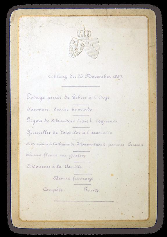 royal menus - dowager empress - coblenz.