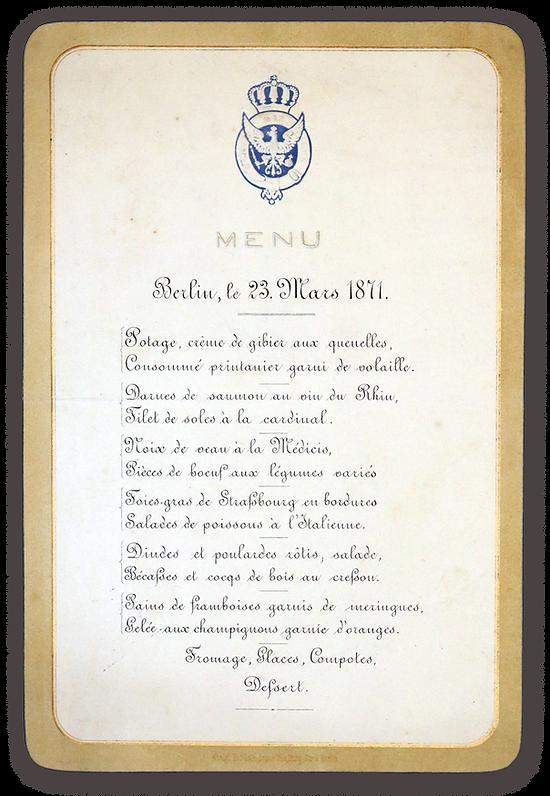 Royal Menus - Wilhelm I - 1871 - menu.pn