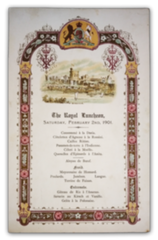 Royal Menus - Queen Victoria - funeral -