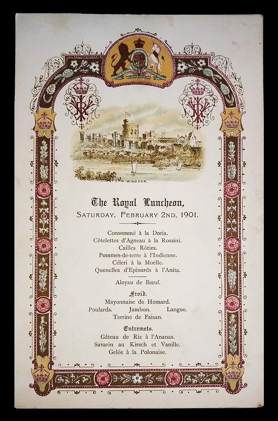 Royal Menus - Queen Victoria - funeral -