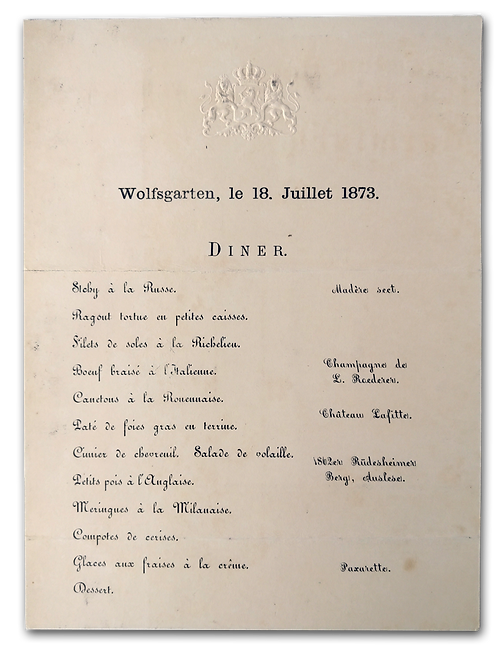 Royal Menus - Grand Duke Hesse - Wolfsga