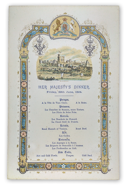 royal menus - tsar engagement - windsor