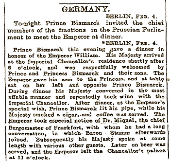 Royal Menus - Bismarck Clipping - 4 Feb