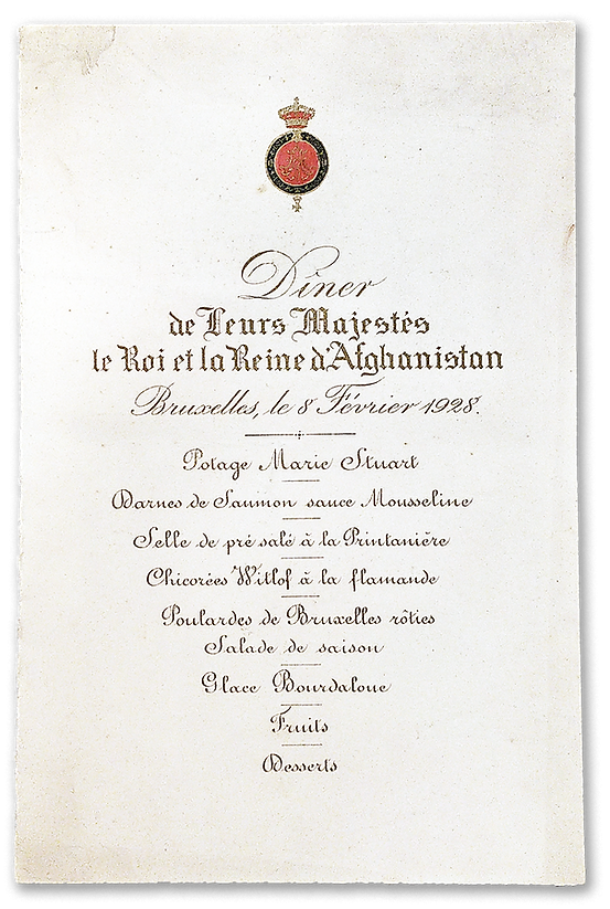 royal menus - king belgians and king afg