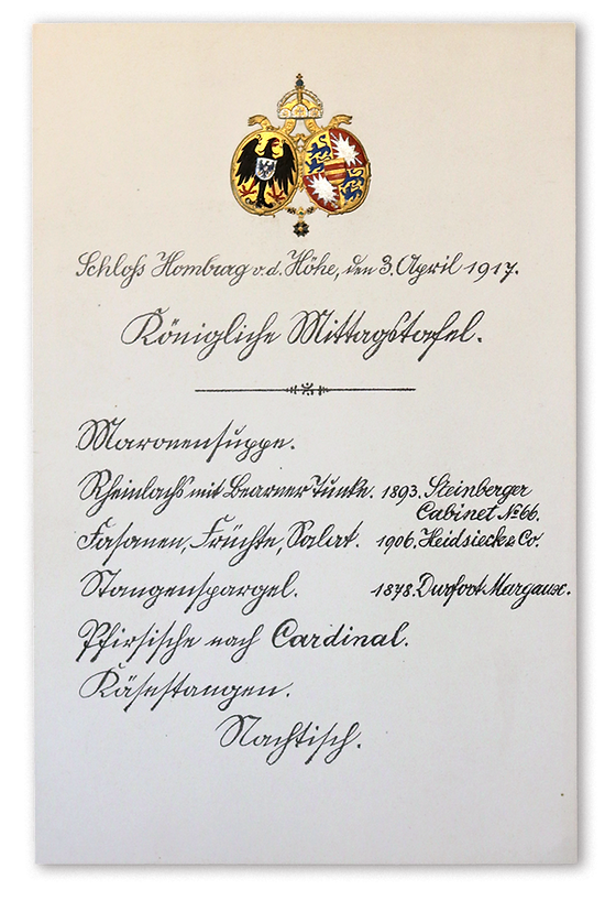 Royal Menus - Kaiser - Homburg Hohe menu