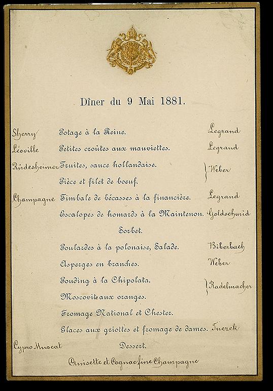Royal Menus - Kaiser Franz Joseph and Si