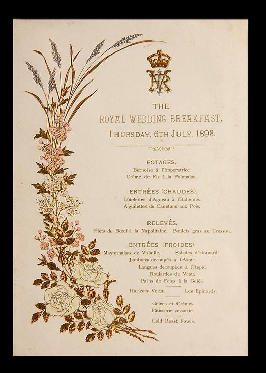 Royal Menus - George V - wedding menu.pn