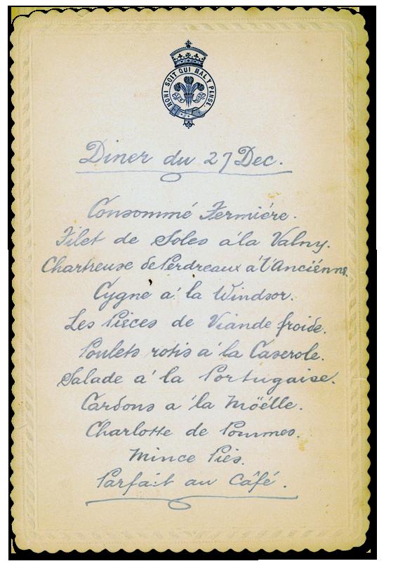 Royal Menus + Edward VII + 1890s + Roast