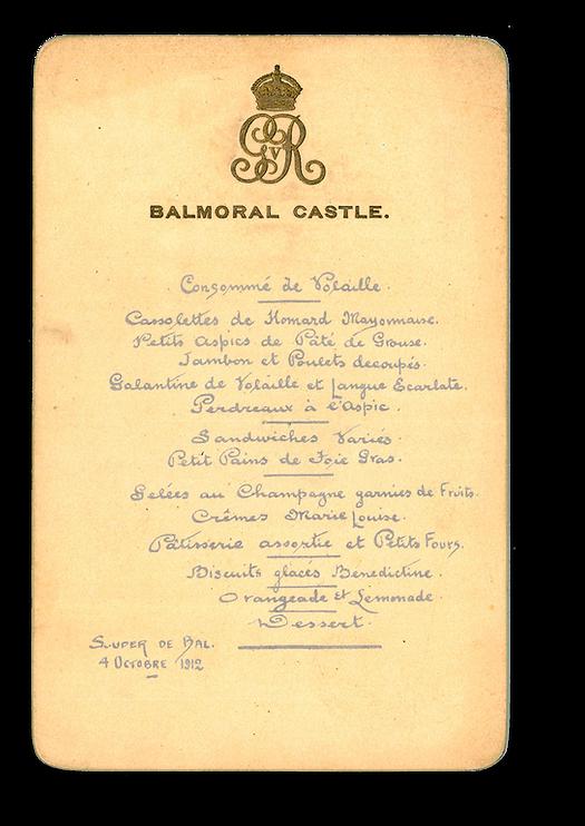 Royal Menus - George V - Balmoral 1912 -