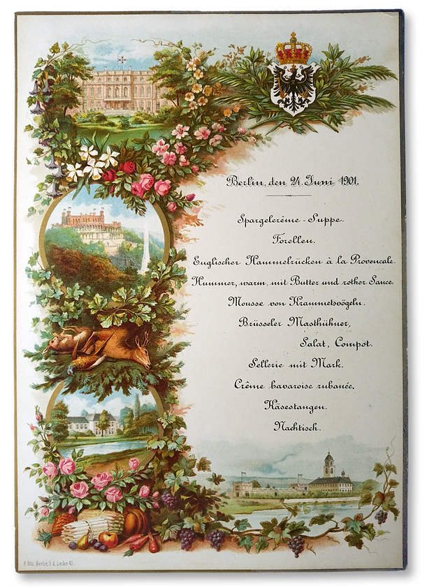 Royal Menus - prince albrecht of prussia