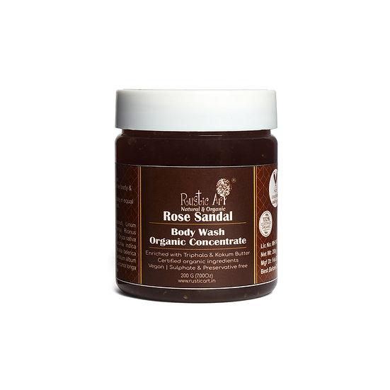Rustic Art Organic Rose Sandal Body Wash Concentrate | Organic & Vegan
