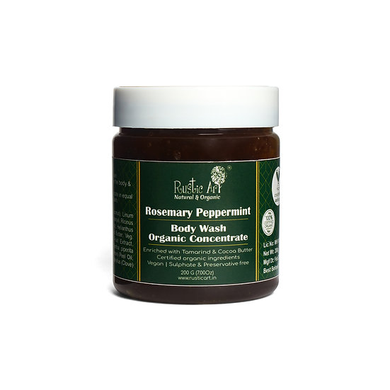 Rustic Art Rosemary Peppermint Body Wash Concentrate | Organic & Vegan