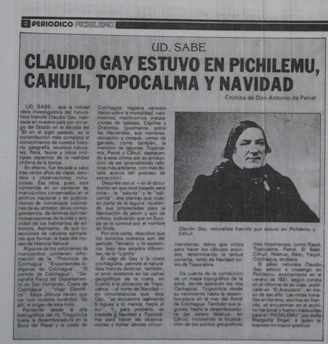 Claudio Gay estuvo en Pichilemu, Cahuil, Topocalma y Navidad