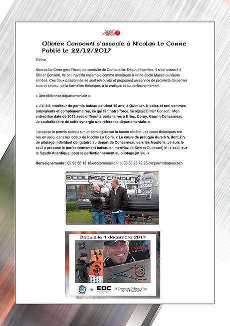 Vitrine OUEST FRANCE décembre 2017 Partenariat OLM Permis Bateau et EDC Fouesnant