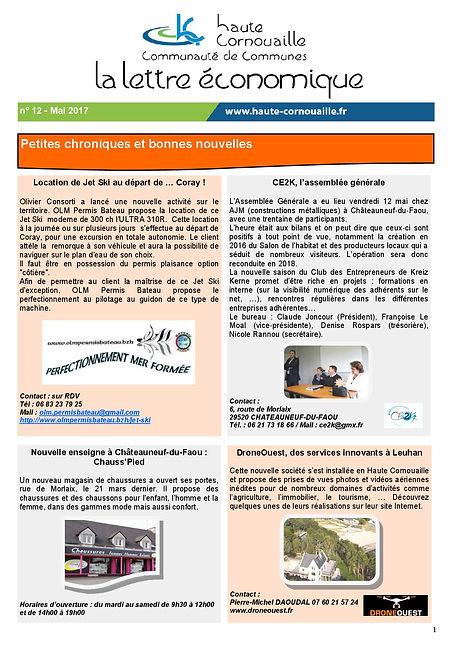 Lettr économique de Haute Cornouaille OLM Permis Bateau Mai 2017
