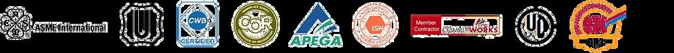 Certifications logos. ASME, U, CWB, COR, APEGA, ISN, COMPLYWORKS, UL, SSPC