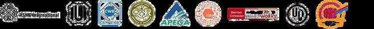 Certification Logos. ASME, COR, APEGA, ISN, COMPLYWORKS, UL, SSPC