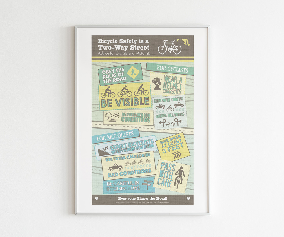Bike Saftey Infographic Framed White Wall