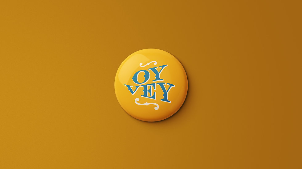 Oy Vey in Gold Button
