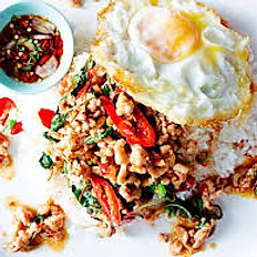 Thai holy basil stir fry with egg