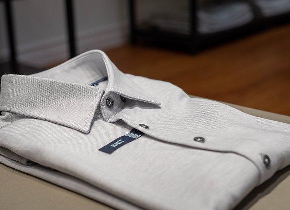 Light Gray Pique Knit Short Sleeve Shirt