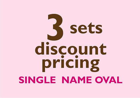 3 Sets -- Single Name Oval Labels