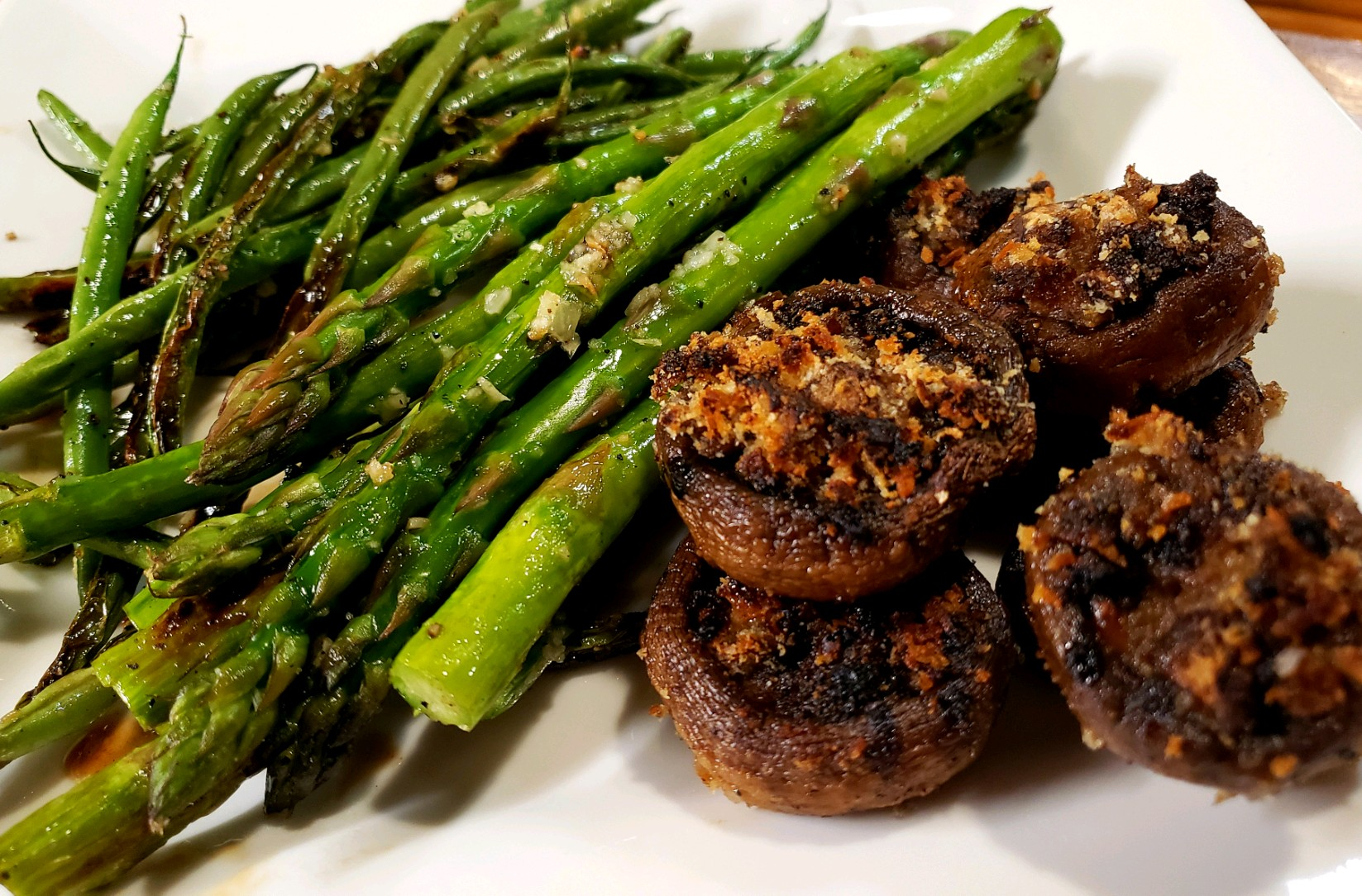Green Beans, Asp & Stuffed Mushrooms