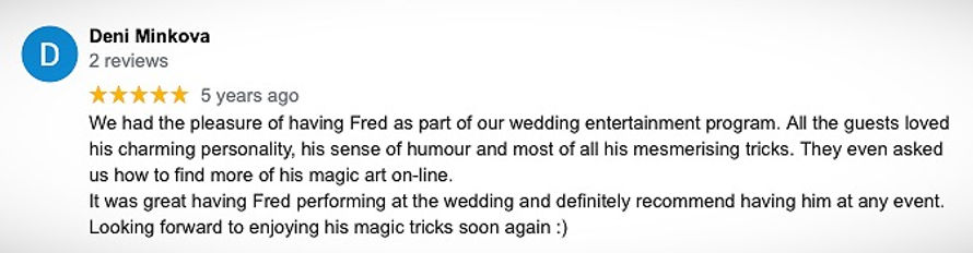 Testimonial for Dubai magician Fred Sharp