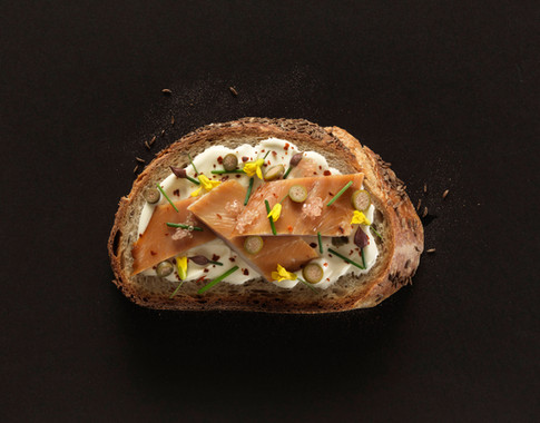 Trout Toast, Finger Limes, Chives and Edible Flowers. Jim Golden, Portland Oregon.