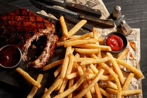 Black Angus Restaurants; Pork Ribs and Fries. Noel Barnhurst, Oakland CA.