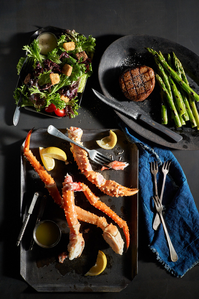 Black Angus Restaurants; King Crab and Filet Mignon. Noel Barnhurst, Oakland CA.