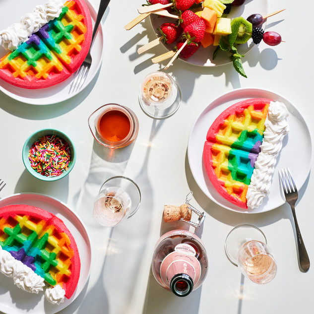 Gay Pride Rainbow Waffles Brunch for Barefoot Wines