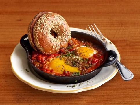 Shakshuka_bagel_brunch perfect eggs Alicia Deal