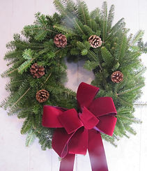 christmas trees, wreaths, grave blankets