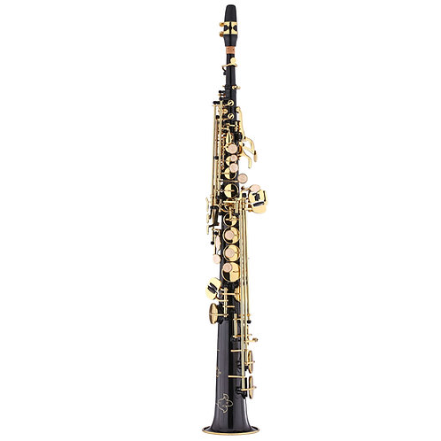 Kaizer 1000 Series Bb Soprano Saxophone - Black Nickel - Gold Keys