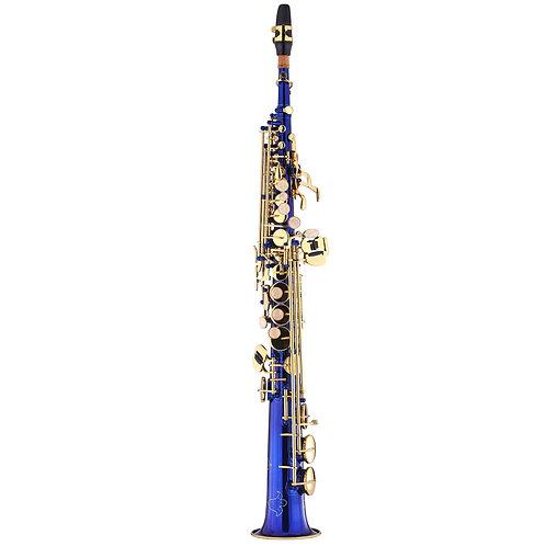 Kaizer 1000 Series Bb Soprano Saxophone - Blue Lacquer - Gold Keys